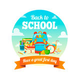 School supplies and greeting text. Royalty Free Stock Image