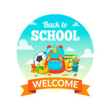 School supplies and greeting text. Royalty Free Stock Images