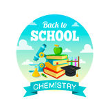 School supplies and greeting text. Chemistry lessons. Stock Photo