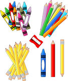 School supplies. Groups clip art isolated on white background, in vector format very easy to edit, individual objects Royalty Free Stock Photos
