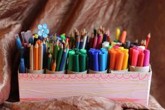 School supplies in groups Royalty Free Stock Photo
