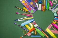 School supplies in heart shape Royalty Free Stock Image