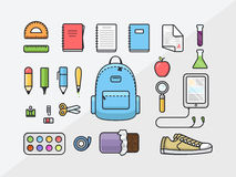 School supplies icon set, back to school outline illustration, flat template of educational kit Stock Images