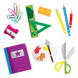 School supplies icons. A vector illustration of school supplies icons Stock Photography