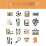 School supplies icons set Stock Image