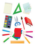School supplies. Illustration of a school supplies Stock Photos