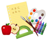 School Supplies. Illustration of school supplies, isolated on white Royalty Free Stock Photography