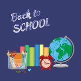 School supplies with inscription in chalk Back to school.  Flat Style Education Concept. Stock Photos