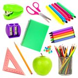 School supplies isolated. Variety of school supplies individually isolated on white Royalty Free Stock Photo