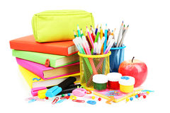 School supplies isolated on white Royalty Free Stock Images