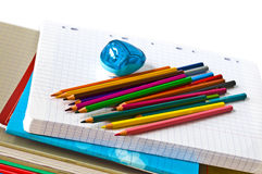 School supplies isolated on white Royalty Free Stock Photography