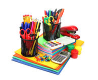 School supplies isolated on white background. Stock Photo