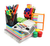 School supplies isolated on white background. Royalty Free Stock Photography
