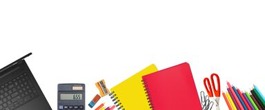 School supplies items. Bottom border on a white background. Back to school during concept with copy space