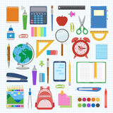 School supplies and items set on a sheet in a cell. Back to school equipment. Education workspace accessories on white background. Infographic elements. Vector royalty free illustration