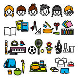 School supplies and kids. File, set Royalty Free Stock Images