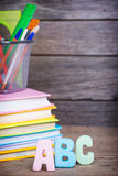 School supplies labeled ABC Royalty Free Stock Photo