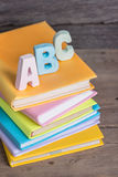 School supplies labeled ABC Royalty Free Stock Photography