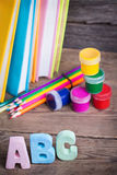 School supplies labeled ABC Royalty Free Stock Photos