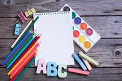 School supplies labeled ABC Stock Image