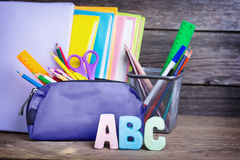 School supplies labeled ABC Stock Photos