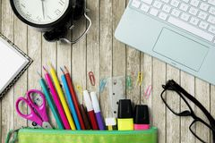 School supplies with a laptop on the table Stock Photo