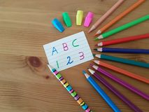 School Supplies with Letters and Numbers on White Paper royalty free stock images