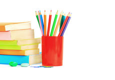 School supplies lie on a table on a white background Royalty Free Stock Photo