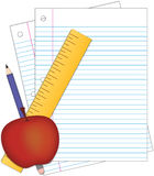 School supplies - Lined Paper, Ruler, Pencil and Apple Royalty Free Stock Photography