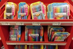 School Supplies at a local retail store royalty free stock photography