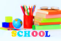 School supplies. The main word. Stock Images