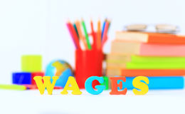 School supplies. The main word. Royalty Free Stock Image