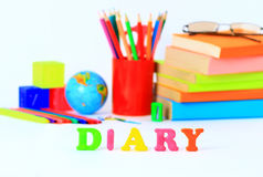 School supplies. The main word. Stock Photo