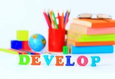 School supplies. The main word Stock Image