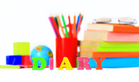 School supplies. The main word Royalty Free Stock Photos
