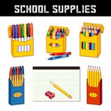 School Supplies, Markers, Crayons, Pens, Pencils, Lined Paper Royalty Free Stock Photos