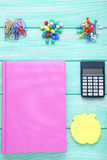 School supplies. On mint wooden table Royalty Free Stock Photography