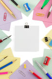 School supplies and note paper Stock Images