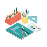 School supplies. And notebook, back to school and creativity concept Stock Images