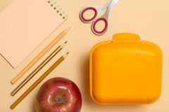 Free School Supplies. Notebook, Color Pencils And Lunch Box Stock Photos - 121949093