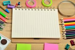 School supplies and notebook Stock Photos