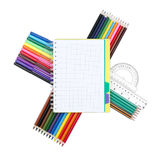 School supplies and notepad on white background, back to school Royalty Free Stock Images