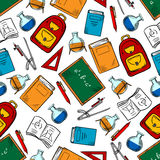 School supplies and objects seamless pattern Stock Images
