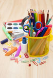 School supplies. School office supplies on a wooden table Royalty Free Stock Photo