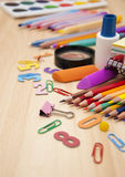 School supplies. School office supplies on a wooden table Stock Photo