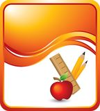 School supplies on orange wave background Stock Photography
