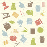 School supplies. Over dotted background vector illustration Royalty Free Stock Photo