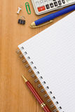 School supplies and  paper notepad Royalty Free Stock Photography