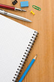 School supplies and  paper notepad Stock Photos