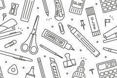 School supplies pattern. School supplies Seamless Pattern On White Background stock illustration